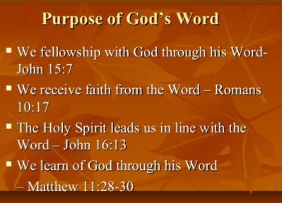 purpose of Gods word