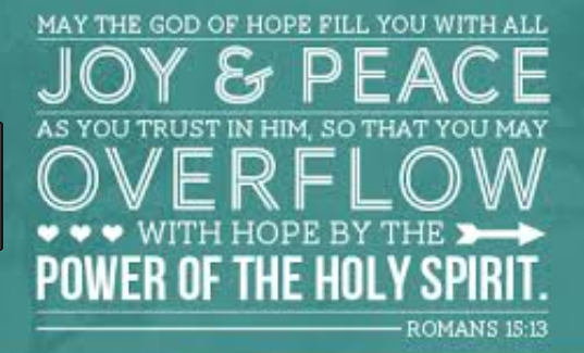 romans 15 verse 13 God of peace and hope