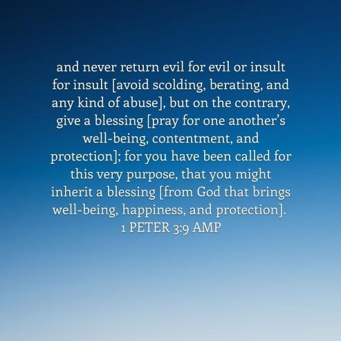 first peter 3 verse 9 dont return evil for evil
