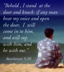 jesus behold i stand at the door and knock image on beach